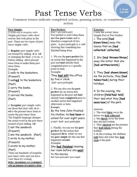 Past Tense Verbs Worksheets by Past Tense Verbs New Calendar Template Site