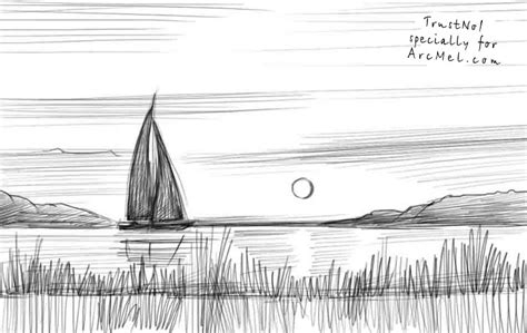 how to draw landscapes how to draw sunset step by step arcmel