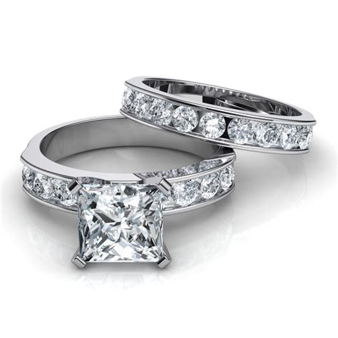 channel set engagement ring wedding band bridal set