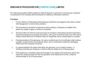 Disciplinary And Grievance Procedures Template by Grievance Procedure Template Bizorb