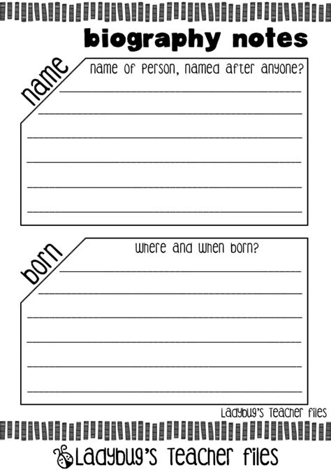 basic biography graphic organizer graphic organizer for a 5th grade biography search