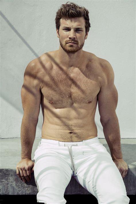 derek theler poses for attitude talks going shirtless