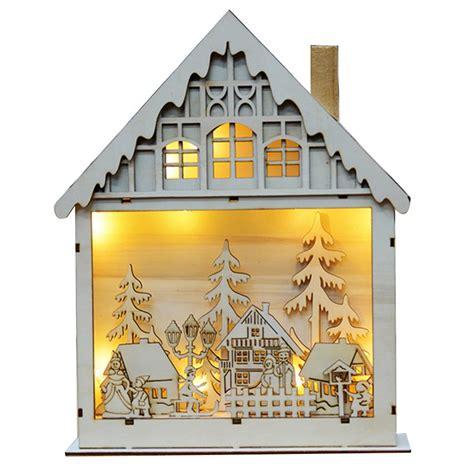 christmas tree light pole wood led light wood house tree hanging ornaments decoration alexnld