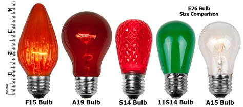 christmas bulb size chart e26 and sign bulbs