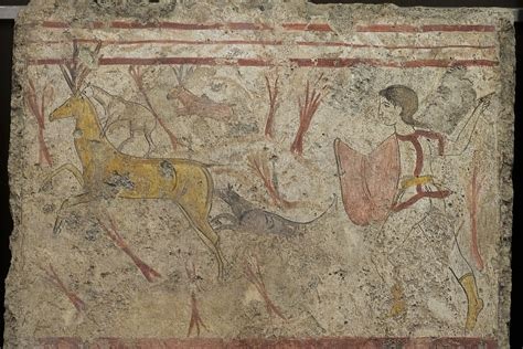How To Paint A Mural On A Wall scene of hunting for a deer fresco from a lucanian tomb