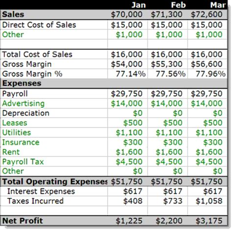 12 month income statement template plan as you go 5 dressing and growing bplans