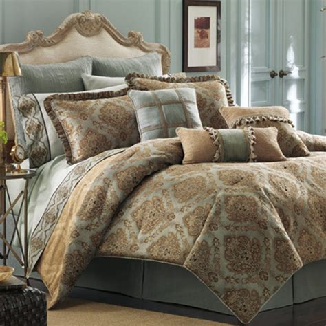 bedroom queen size bed with brown blue and yellow bedding