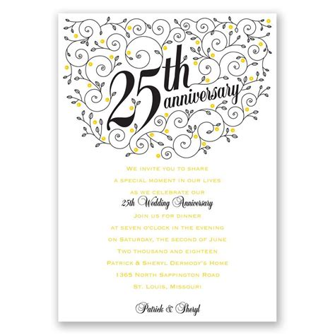 25th wedding anniversary invitations templates forever filigree 25th anniversary invitation invitations