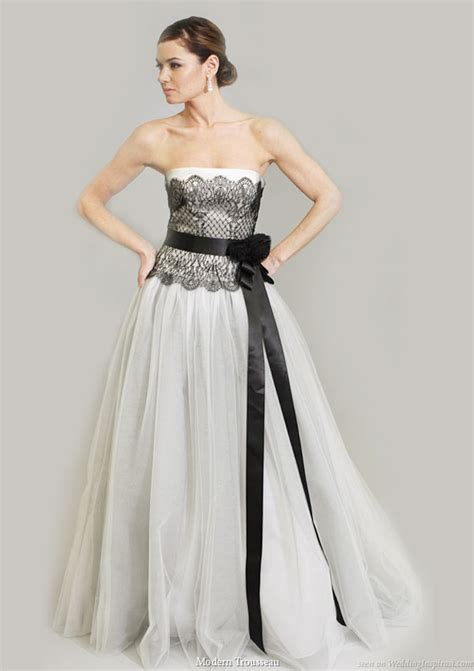 looking with black and white wedding gowns