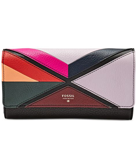 Patchwork Wallet - fossil sydney patchwork flap clutch wallet lyst
