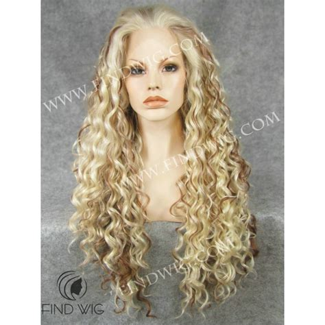 blonde highlighted wigs curly blonde highlighted long wig drag wigs online