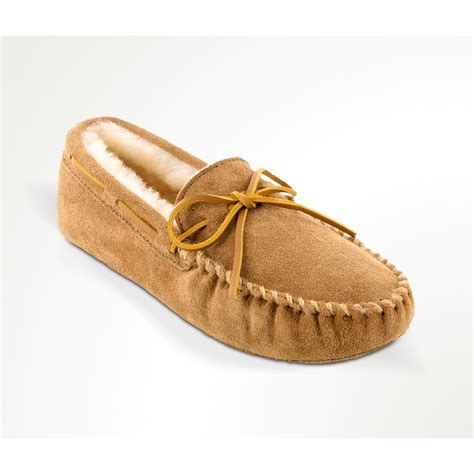 men s house shoes minnetonka moccasin sheepskin softsole moccasin slippers tan 657752 slippers at
