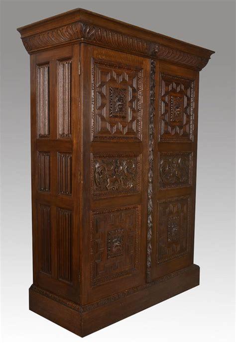 Carved Wardrobe by Carved Oak Two Door Wardrobe Antiques Atlas