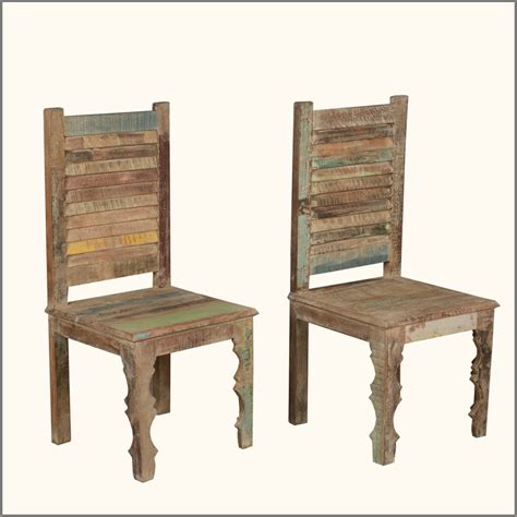 Distressed Wood Dining Chairs Rustic Distressed Reclaimed Wood Multi Color Kitchen Dining Room Chairs Set Of 2 Ebay