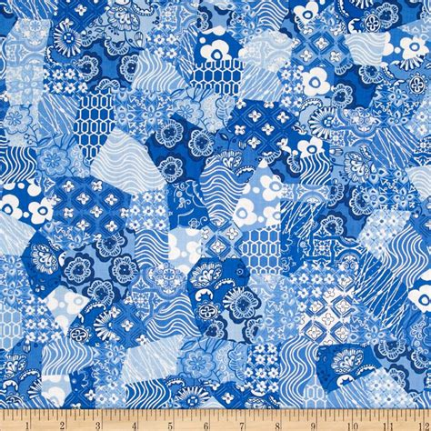 Cheap Patchwork Fabric - meridian patchwork blue discount designer fabric