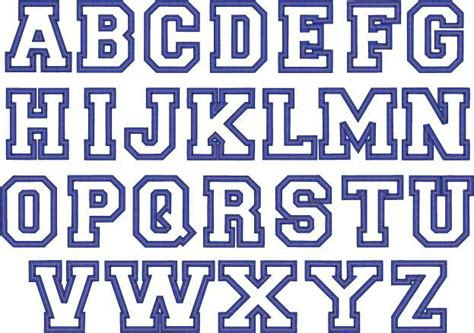 College Block Letter Font 3d Embroidery Letters Fonts