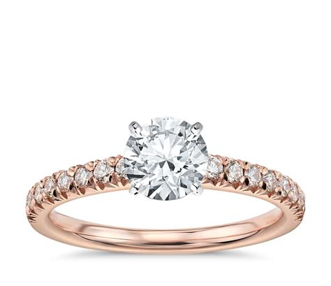 french pave diamond engagement ring   rose gold