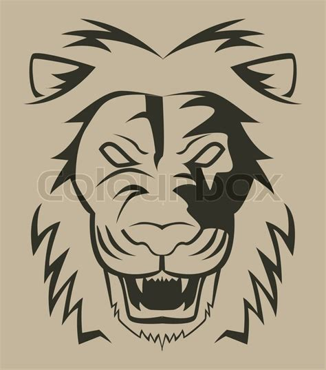 lion face illustration stock vector colourbox