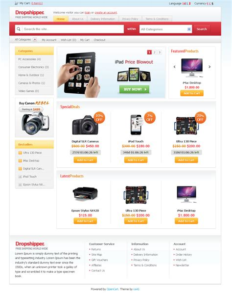 opencart templates dropshipper opencart theme by ravig themeforest