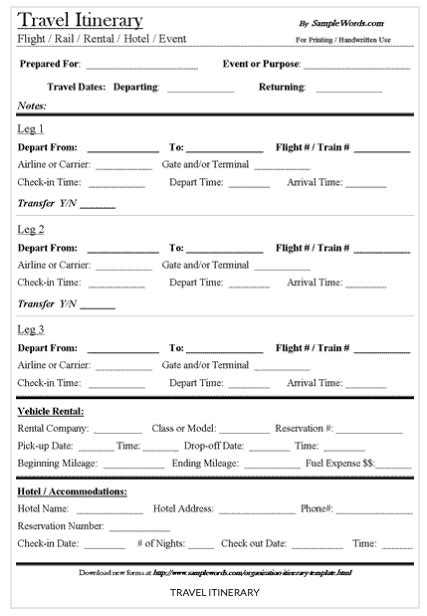 itinerary templates 9 useful travel itinerary templates that are 100 free