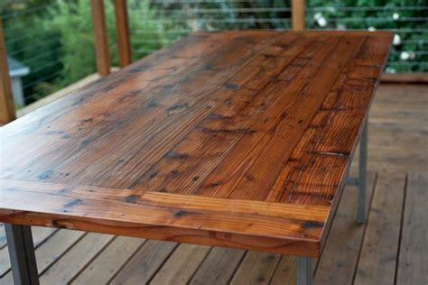 salvaged redwood dining table handmade steel legs