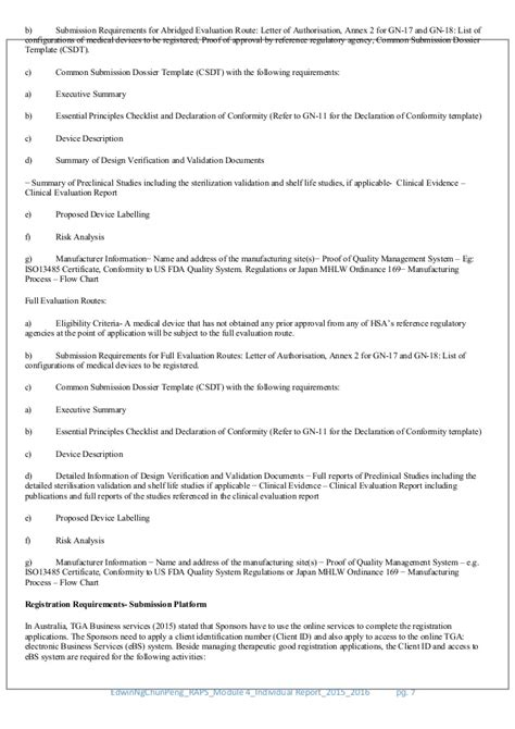 Academic Report On Singapore Hsa Class D And Australia Tga Class Iii Device Regulatory Strategy Template