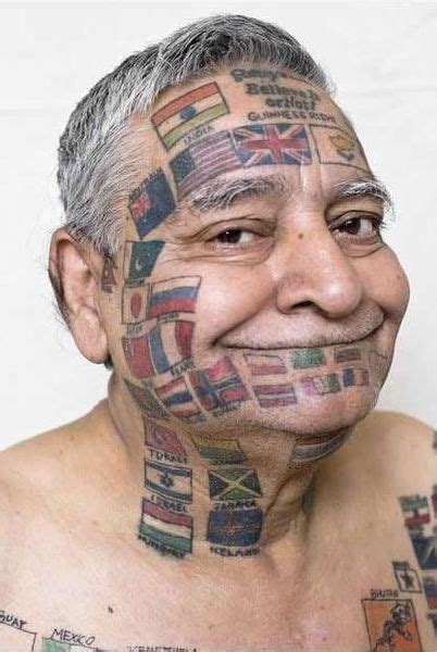 bizarre tattoo news tattoos his with 220 flags