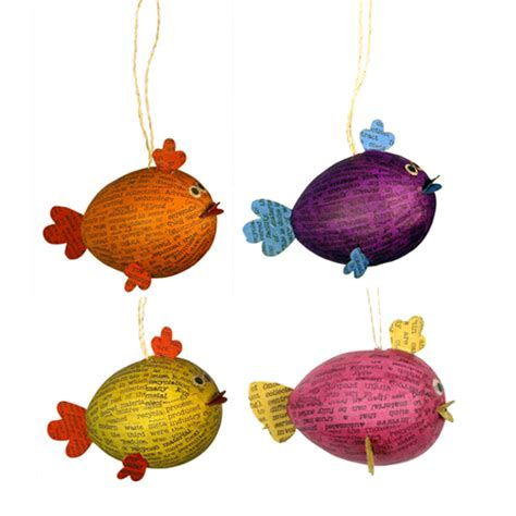 decoupaged papier mache ornaments goldfish ornaments from the philippines fair trade handmade papier mache paper capers