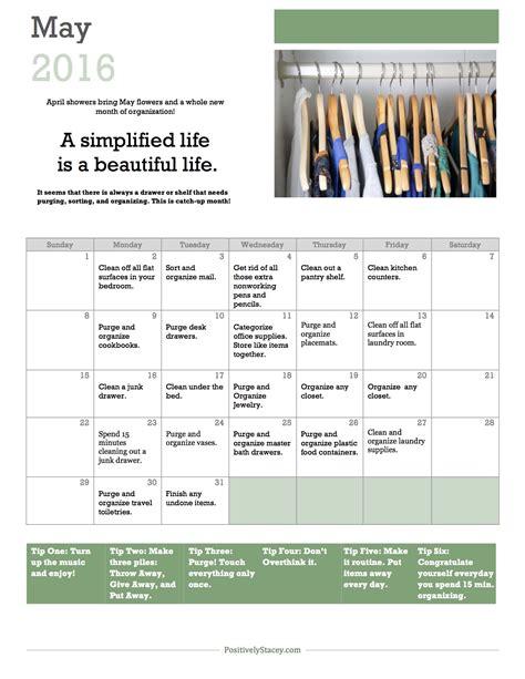 Calendar With Organization May Home Organization Calendar Positively Stacey