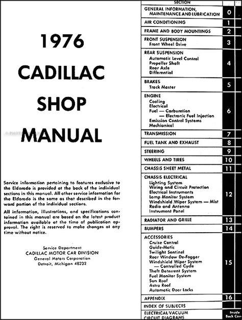 1976 Cadillac Repair Shop Manual Original