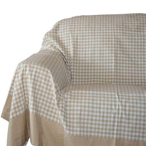 large throw to cover sofa gingham check beige white extra large cotton bed sofa