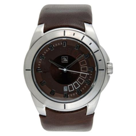 Quiksilver Chrono Leather Brown Silver Black quiksilver mens mens watches