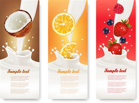 fruit milk fruit milk advertising banner vector graphics 04