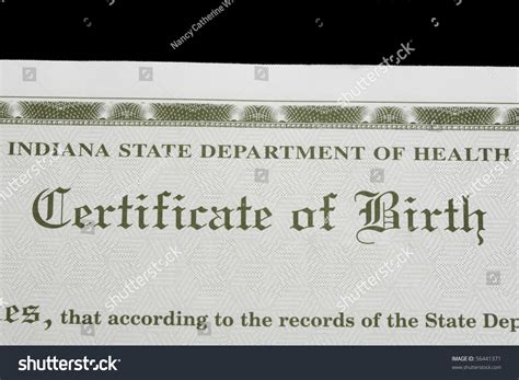 Free Birth Records Indiana Birth Certificate Us State Indiana Stock Photo 56441371