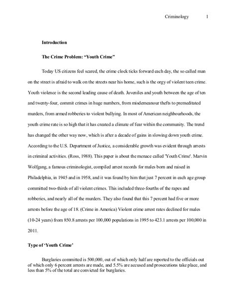 Criminology Essay criminology essay