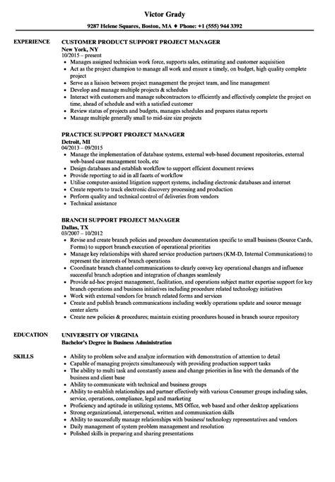 support project manager resume sles velvet