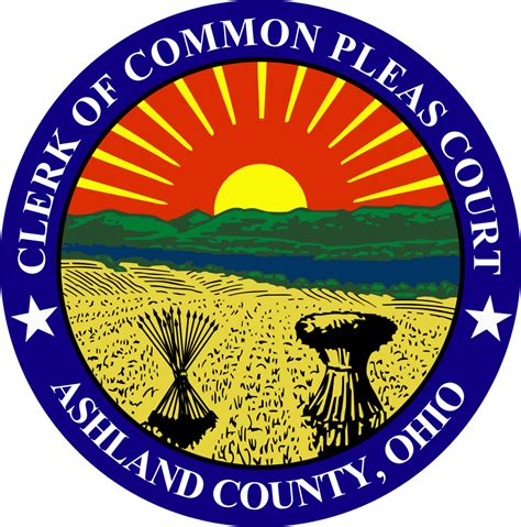 County Common Pleas Court Search File Seal Of Ashland County Ohio Clerk Of Common Pleas Court Svg