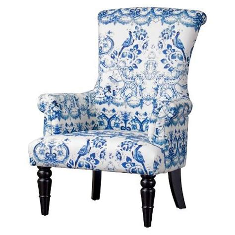 baxton studio blue  white upholstered chair
