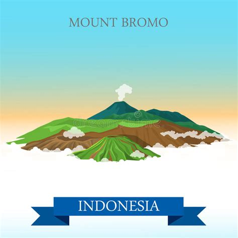mount bromo  indonesia vector flat attraction stock