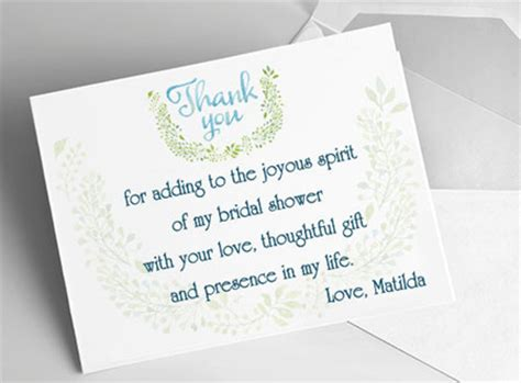 thank you letter to for bridal shower etiquette and sles bridal shower thank you notes