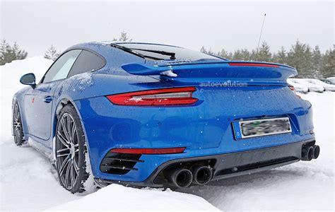 porsche winter 2017 porsche 911 gt2 spied in winter testing with no camo