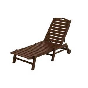 Armless Chaise Lounge Chair Polywood Nautical Mahogany Wheeled Armless Patio Chaise