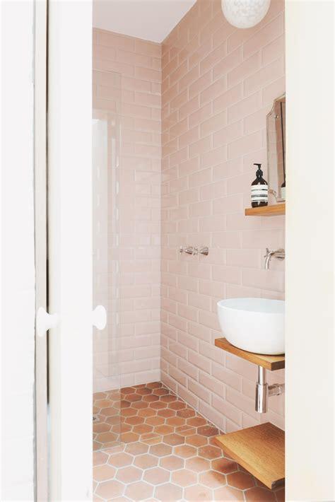 bathroom floor tiles pictures rethinking pink 9 bathrooms in blush tones remodelista