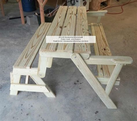 picnic table bench combo plan folding bench picnic table combo plans woodworking