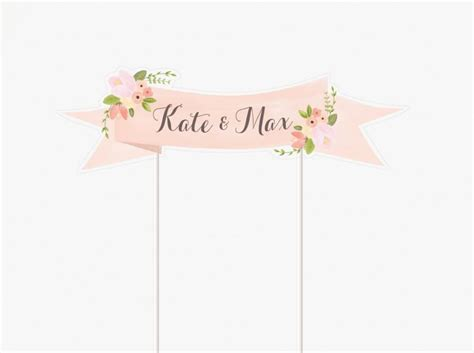 printable cake toppers floral wedding cake topper printable customized with names