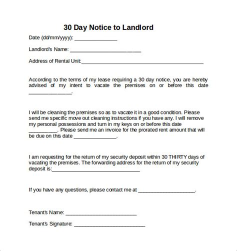 notice to landlord template 30 day notice to move out template