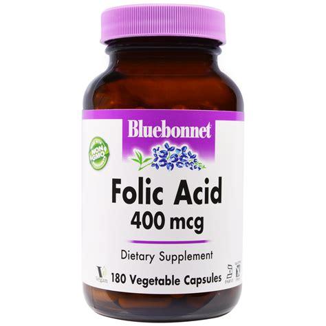 Mcg For Methhet Detox F Folate Supplements by Bluebonnet Nutrition Folic Acid 400 Mcg 180 Veggie Caps