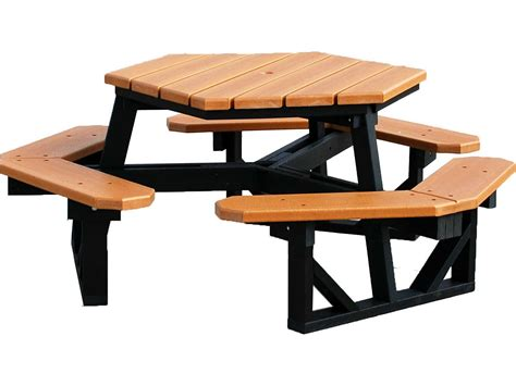Patio Picnic Table Frog Furnishings Hex Recycled Plastic 6 Ft 69 5 X 69 5 Hexagon Picnic Table Pb6hex