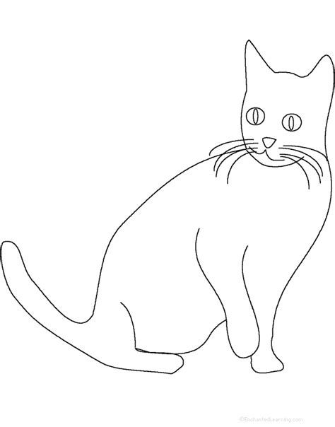 template of cat cat tracing cutting template enchantedlearning