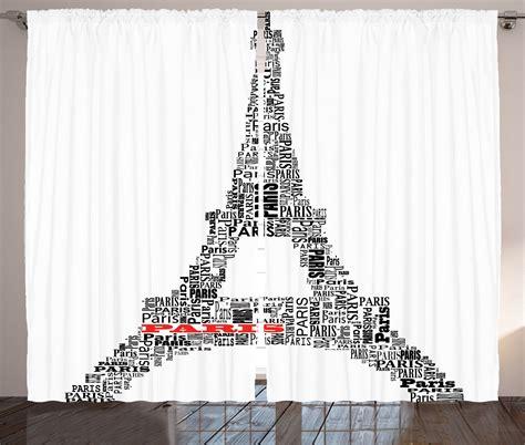 paris curtain panels illustration of tour eiffel with words paris french decor